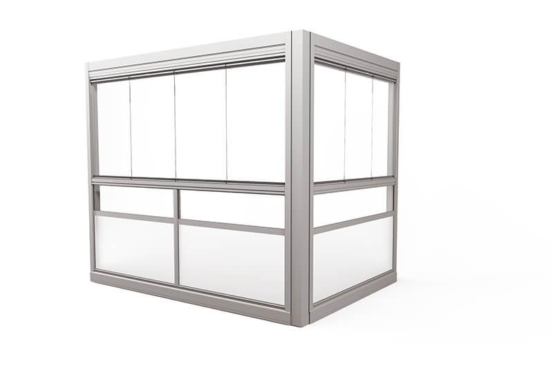 <span>Design Sight </span>Verglasungssystem mit rahmenlosen Fenstern.