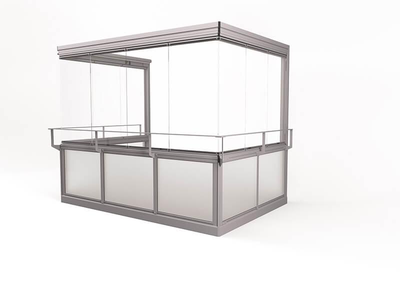 <span>Vision® Air </span>Verglasungssystem mit großen rahmenlosen Fenstern, ohne Eckpfeiler.