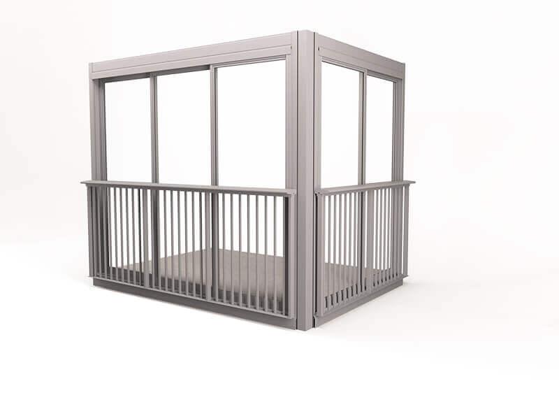 <span>Space </span>Verglasungssystem mit gerahmten Fenstern vom Fußboden bis zur Decke, mit dekorativem Geländer.
